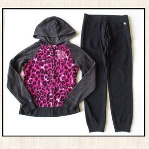 Justice 14 Pink Black Velour Jacket Sweatpants